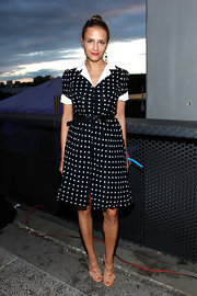 Charlotte Ronson sported a black and white polka dot shirt dress for her look at the Summer Party on the Highline.