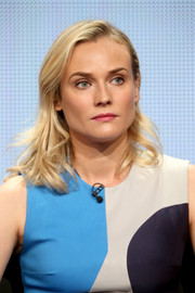 Diane Kruger wore her hair in a simple side-parted wavy style during the Summer TCA Tour.