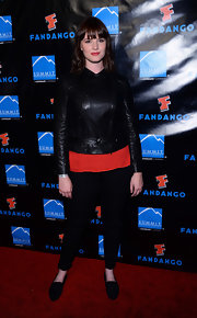 Amy C. Newbold sported a futuristic, black leather jacket — just right for Comic-Con 2013.