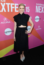 A matching ruffle-embellished skirt completed Greta Gerwig's look.