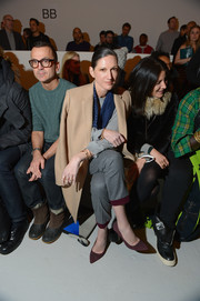 Jenna Lyons wore a pair of purple pumps with a subtle zebra print to the Suno fashion show.