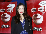 Liv Tyler showed off long center part curls at the premeire of 'Super.'