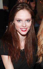 Coco Rocha wore a classic red lipstick at the Supima spring 2012 fashion show.