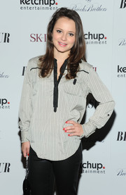 Sasha Cohen kept it casual in a gray blouse with a subtle pattern when she attended the 'Big Sur' premiere in New York City.