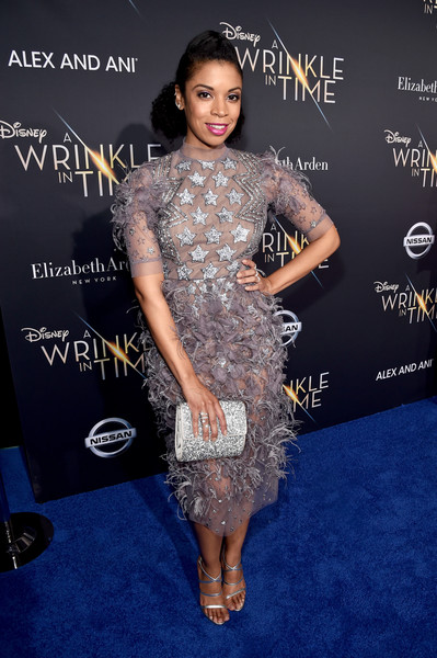 Susan Kelechi Watson Metallic Clutch [a wrinkle in time,clothing,dress,hairstyle,fashion,premiere,carpet,red carpet,joint,flooring,cocktail dress,susan kelechi watson,hollywood ca,el capitan theatre,disney,world premiere,world premiere]