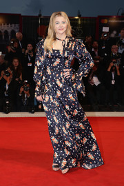 Chloe Grace Moretz was boho in a floral maxi dress by Louis Vuitton at the Venice Film Festival screening of 'Suspiria.'