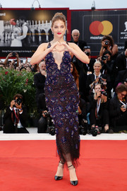 Barbara Palvin looked fabulous in an embroidered halter dress by Armani Prive at the Venice Film Festival screening of 'Suspiria.'