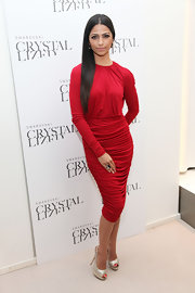 Camila Alves added drama to her sexy red ensemble with silver peep-toe slingbacks.