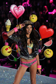 Sara's sequined varsity jacket fit the mood at the Victoria's Secret fashion show.