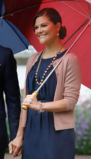 Swedish royalty Princess Victoria looked chic and casual at celebrations for her 34th birthday. She kept her hair simple, wearing it in a low and classic bun.