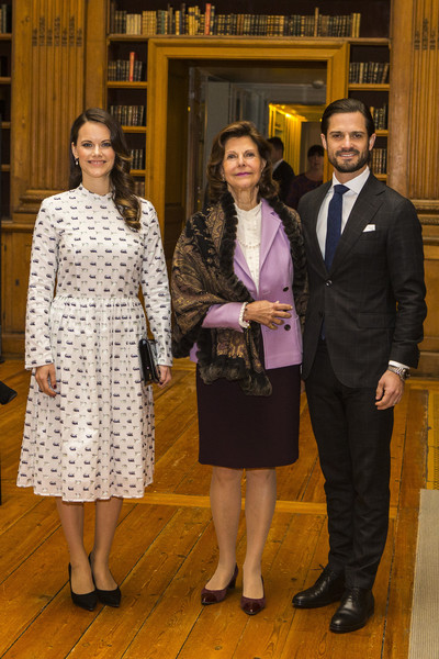 Princess Sofia of Sweden kept it demure in a long-sleeve white print dress by Rodebjer while attending the Dyslexialand symposium.