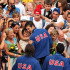 Ryan Lochte, David Walters, Ricky Berens and Michael Phelps of the United States celebrate with family and friends after receiving the gold medal during the medal ceremony for the Men's 4x 200m Freestyle Final at the 13th FINA World Championships at the Stadio del Nuoto on July 31, 2009 in Rome, Italy.