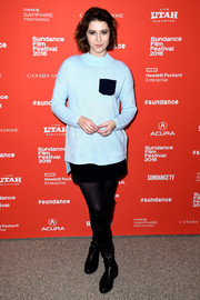 Mary Elizabeth Winstead was preppy in a pastel-blue mock turtleneck and a black mini skirt at the Sundance Film Fest premiere of 'Swiss Army Man.'