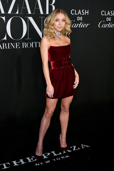 Sydney Sweeney Strapless Dress [clothing,dress,fashion,leg,model,cocktail dress,thigh,fashion model,human leg,long hair,sydney sweeney,icons,harpers bazaar icons,new york city,harpers bazaar]