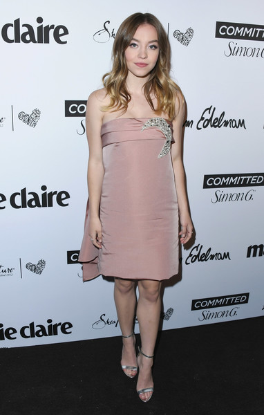 Sydney Sweeney Evening Sandals [marie claires 5th annual fresh faces,sydney sweeney,poppy,clothing,dress,cocktail dress,shoulder,joint,hairstyle,pink,fashion,footwear,fashion model,california,los angeles,arrivals]