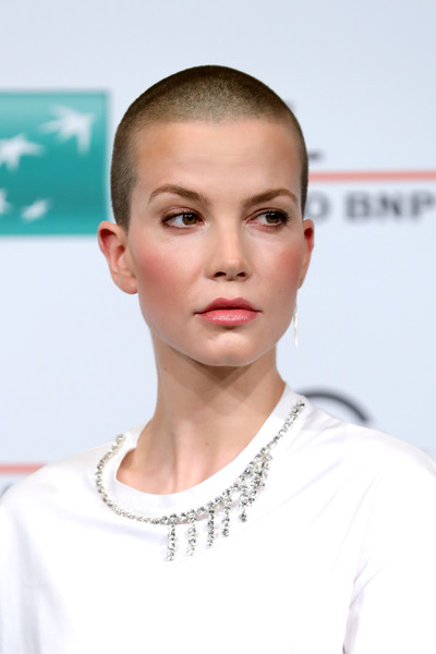 Sylvia Hoeks Buzzcut [the girl in the spiders web,hair,face,eyebrow,skin,chin,hairstyle,forehead,lip,cheek,head,sylvia hoeks,photocall,auditorium parco della musica,rome,italy,photocall - 13th rome film fest]