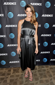 Ashley Greene looked feminine and elegant in a gunmetal satin cocktail dress by Halston Heritage at the AT&T Audience Network TCA event.