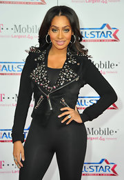 La La Anthony looked edgy and fab in an embellished black moto jacket during the NBA All-Star Game.