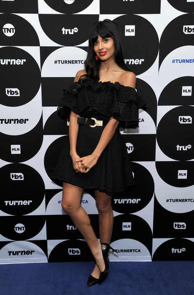 Jameela Jamil was summer-chic in an off-the-shoulder LBD by House of Holland at the TCA Turner Winter Press Tour.