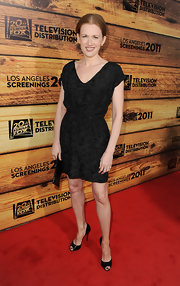 Mireille sported this classic LBD with tapestry print embossing at the TCF Television Distribution party.