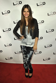 Victoria rocked tie-dyed skinny jeans while attending the LXD after party.