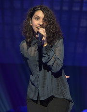 Alessia Cara gave a performance at TIDAL X: 1020 wearing a sheer blue print blouse.