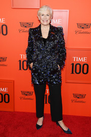 Glenn Close sparkled in a heavily embellished blazer by Armani Prive at the 2019 Time 100 Gala.