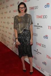 Jenna Lyons was all about relaxed glamour in a fully sequined silver T-shirt at the Time 100 Gala.