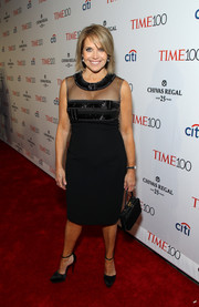 Katie Couric looked subtly sexy at the Time 100 Gala in a sheer-panel LBD with an embellished bodice.