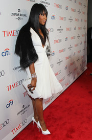 Naomi Campbell looked ageless in a deep-V white cocktail dress by Jean Paul Gaultier Couture at the Time 100 Gala.