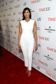 Padma Lakshmi looked pristine in a white jumpsuit with architectural neckline detailing during the Time 100 Gala.