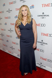 Amy Schumer opted for a simple navy evening dress when she attended the Time 100 Gala.