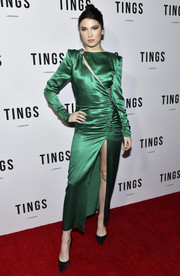 Maya Henry was vintage-chic in a green satin dress with a slashed bodice and a high front slit at the Tings Magazine issue 2 launch.