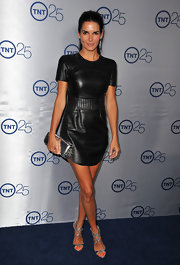 Angie was edgy form head to toe, especially with this leather quilted mini dress.