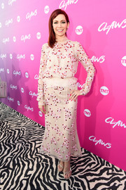Carrie Preston oozed elegance wearing this embroidered nude dress by Bibhu Mohapatra at the premiere of 'Claws.'