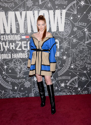Larsen Thompson was sporty-chic in a color-block zip-up jacket dress by Tommy Hilfiger at the TOMMYNOW New York Fall 2019 show.