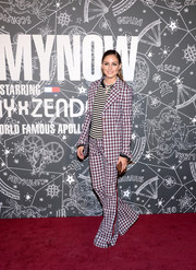 Olivia Palermo sported a striking mix of plaid and stripes at the TOMMYNOW New York Fall 2019 show.