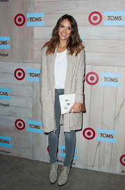 Jessica Alba looked toasty in a long gray cardigan during the TOMS for Target launch.