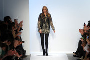 Designer Charlotte Ronson walks on the runway at the Charlotte Ronson Fall 2011 fashion show during Mercedes-Benz Fashion Week at The Stage at Lincoln Center on February 12, 2011 in New York City.