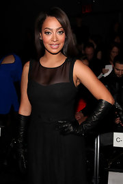 La La Anthony added some drama to her outfit with a pair of black leather gloves when she attended the Cynthia Steffe fashion show.