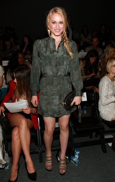 Leven Rambin wore her hair in a long side braid for the Rebecca Minkoff runway show.