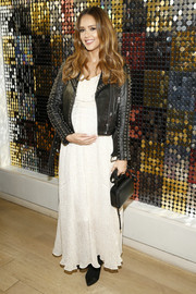 Jessica Alba rounded out her look with a black Rebecca Minkoff leather purse.