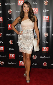 Cheryl Burke oozed elegance in sophisticated silver peep toes with crystal embellishments. The heels complemented the embroidery in her one shoulder cocktail dress.