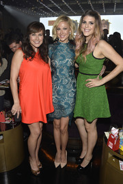 Desi Lydic looked oh-so-chic in a teal lace-panel cocktail dress with an asymmetrical hem during the TV Guide Magazine Hot List Party.