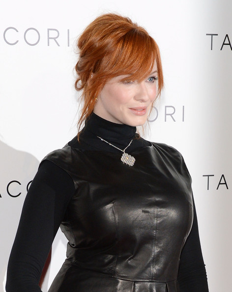 More Pics of Christina Hendricks Leather Dress (1 of 23) - Christina Hendricks Lookbook - StyleBistro