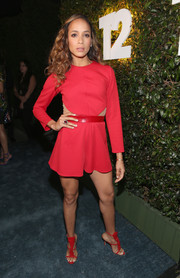 Dania Ramirez matched her romper with sexy red gladiator heels.