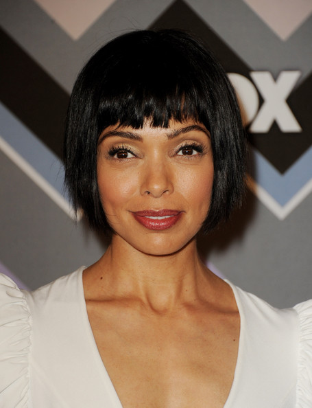 Tamara Taylor Short Cut With Bangs [tamara taylor,fox all-star party - arrivals,hair,face,hairstyle,eyebrow,chin,black hair,bob cut,bangs,lip,forehead,fox all-star party,pasadena,california,langham huntington hotel]