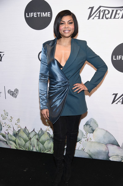 Taraji P. Henson Over the Knee Boots [clothing,outerwear,fashion,suit,footwear,formal wear,blazer,dress,jacket,carpet,power of women: new york,variety,new york city,cipriani midtown,taraji p. henson]
