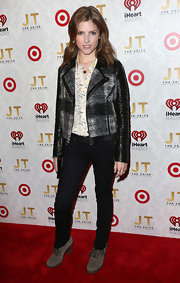 Anna Kendrick chose a cool tweed and leather motorcycle jacket for her red carpet look.