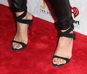 Jordin Sparks sported a pair of black strappy sandals for her red carpet appearance in LA.
